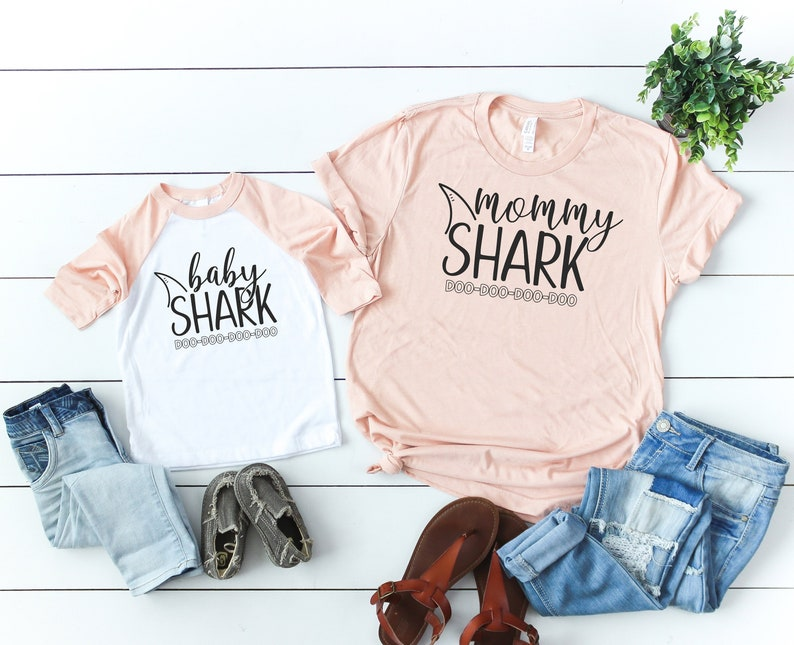 bad0257f3 Mommy Shark and Matching Baby Shark T-Shirts. Stockist: Olive Loves Apple