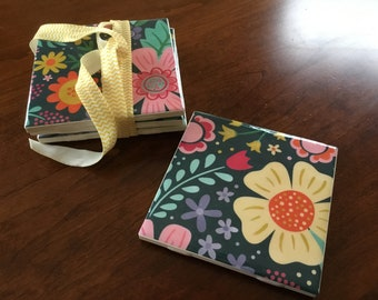 Floral Tile Drink Coaster Set