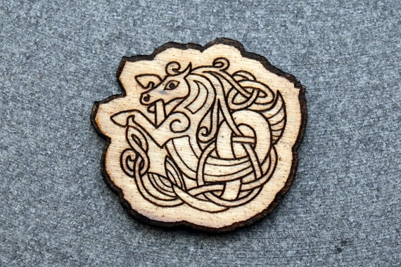 NEW #100 laser engraved wood Celtic WATER HORSE brooch pin