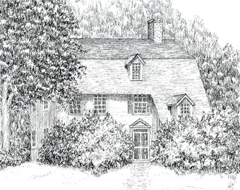 Pen and Ink--The Old Manse