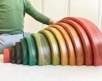 Rainbow Stacker, Large 12 piece, Waldorf Rainbow Stacker, Eco-friendly toy, Nesting Toy, Non-toxic Toy