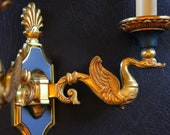 Wall lamps by Lucien Gau in Paris. EMPIRE style Appliques bronze aged gold, French vintage Golden Wall lamp