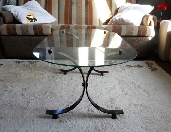 Table Basse Ovale France Noir Or Metal Verre Milieu Siecle 1950 1960 Bout Canape Salle Attente Cadeau Valentin