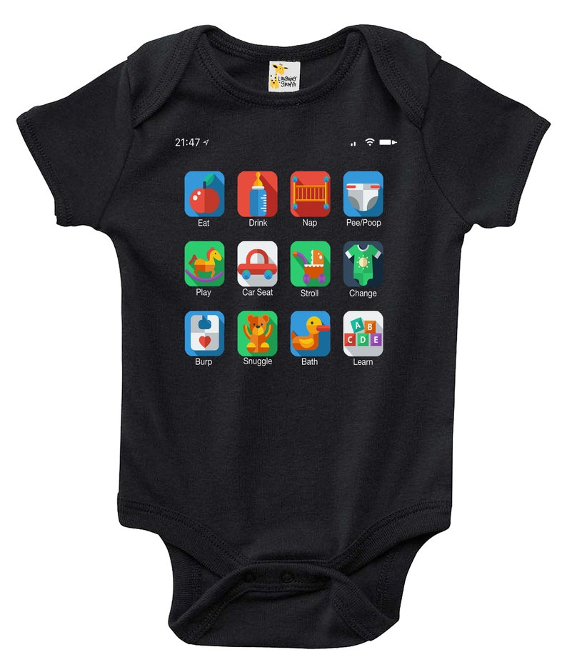 Baby Bodysuit Phone Icons Baby Clothes for Infant Boys and Girls