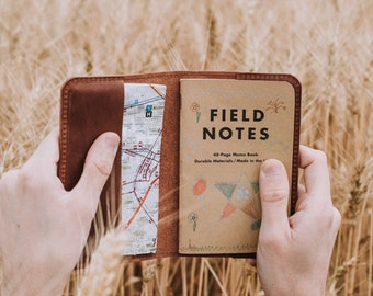 """Leather Journal Cover for Moleskine Cahier Notebook Pocket size 3.5"""" x 5.5"""" Field Notes Cover Personalized Gift Refillable Pocket Cover"""