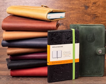 """Moleskine leather cover personalized, 3.5"""" x 5.5"""" pocket moleskine Leather Cover for Moleskine Classic with pen, Refillable Journal"""