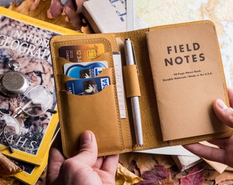 """Personalized a6 Leather Journal Cover for Moleskine Cahier Notebook Pocket size with pen holder 3.5"""" x 5.5"""" Field Notes Cover"""
