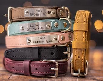 Leather Dog Collar, Personalized Dog Collar, Personalized Leather Dog Collar, Engraved Leather Dog Collar