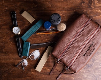 ae5bb0f85b Personalized Leather Shaving Kit-Mens Dopp Kit-Mens Shaving Bag-GIft for  Best Man-Third Anniversary Gift for Him-Available in 72 colors