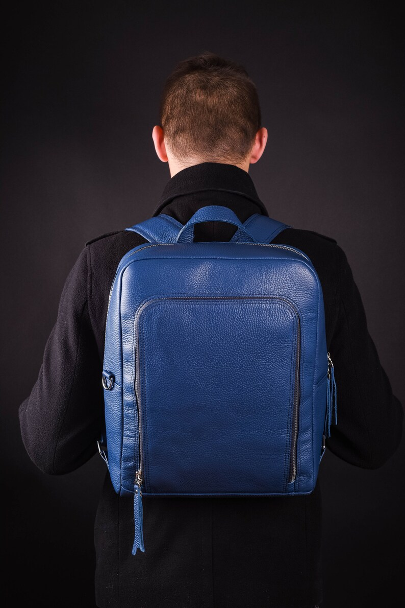 Leather Backpack Mens Backpack Large Backpack Leather Laptop Etsy