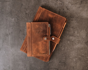 Moleskine leather cover pocket with pen loop, Leather Cover for Moleskine Pocket, Moleskine Classic Large Personalized Refillable Journal