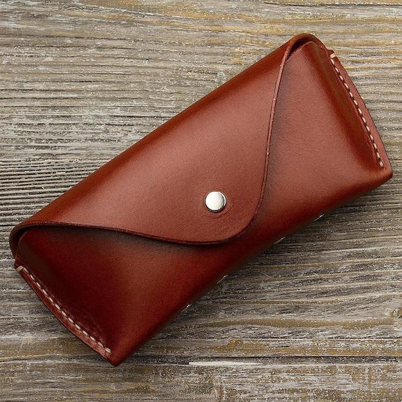 Leather glasses case Glasses case Handmade case Leather case Red leather case