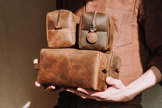 Dopp Kit Bag-Groomsmen Gift-Leather Mens Toiletry Bag with   Etsy 8fd889d17b