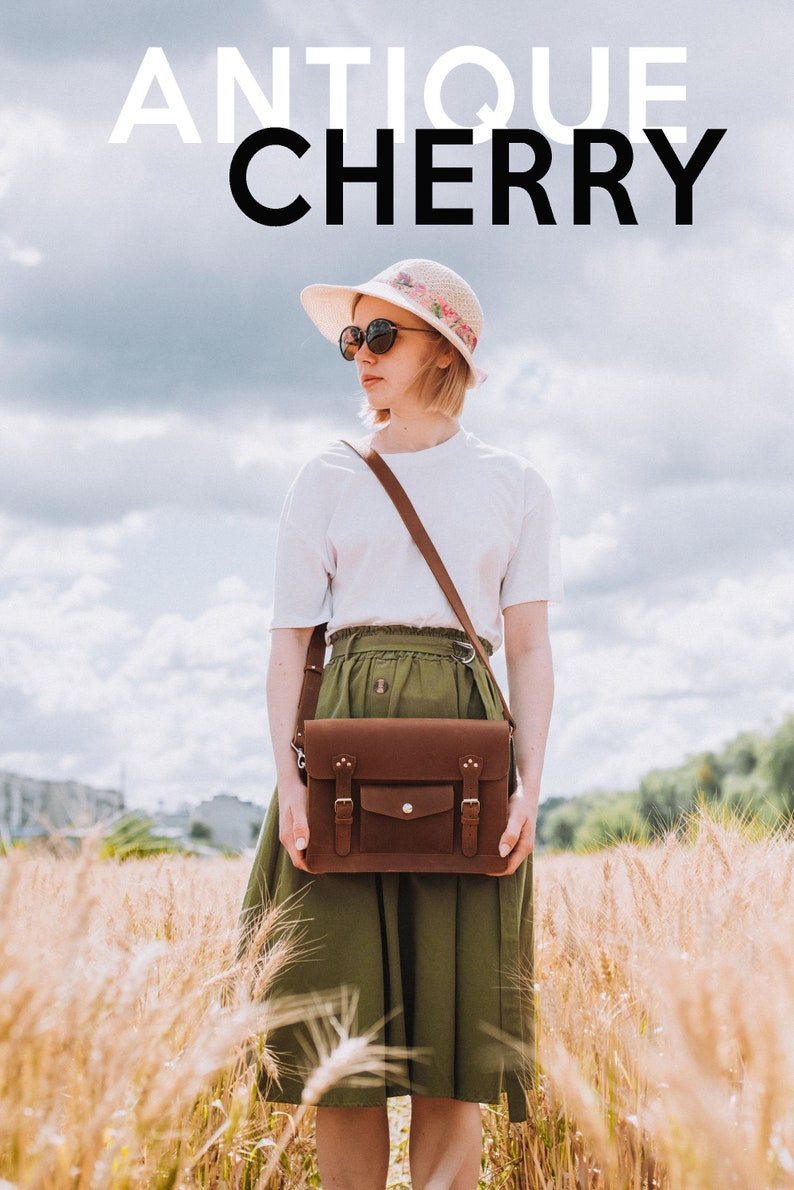 1940s Handbags and Purses History Leather purse leather satchel in antique cherry brown color satchel bag messenger bag shoulder bag crossbody bag womens satchel purse $68.00 AT vintagedancer.com