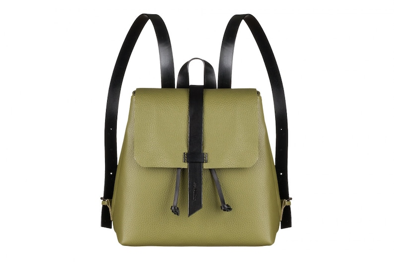Women olive leather backpack women bag olive leather bag  cca021d796599