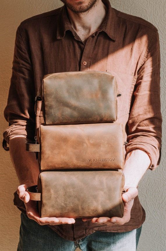 8f09998333 Groomsmen Gift Dopp Kit Bag-Walnut brown leather mens