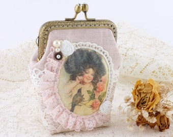Linen Coin purse frame pouch kiss lock wallet kisslock coin purse Change pouch Card pouch Makeup bag Clasp purse Linen and Lace purse
