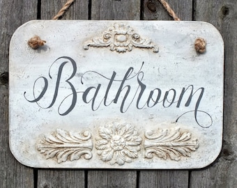 French Country Bathroom Sign White Distressed Wooden Plaque Home Decor  Shabby Chic Bathroom Door Hanger Restroom Wall Art Bath Decorations