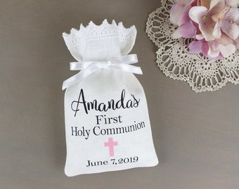 25 Paper Treat Bags 0031 Baby Boy Christening Favor Bags Baptism or Religious Party Custom Favor Bags