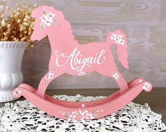 Personalized rocking horse toy custom baby name art gift for personalized toy rocking horse decor baby girl nursery decor customized baby items personalized baby girl gift negle Gallery