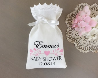 Baby shower favor bags girl, Personalized baby girl shower party favour bags for guests, Its a girl pink New baby small gift bags,