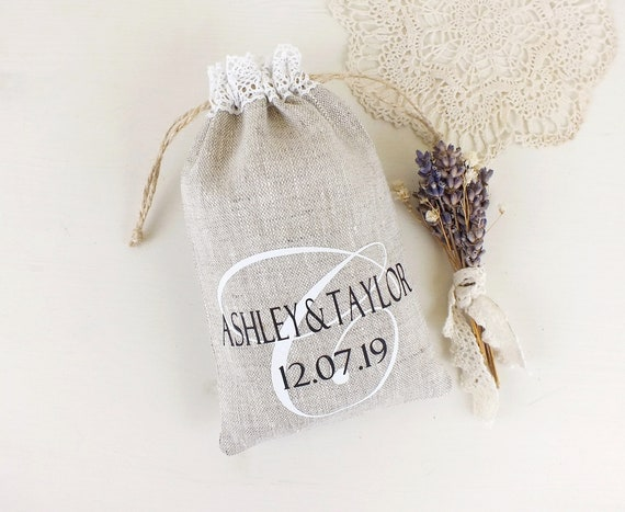 Custom Wedding Favor Bags For Guests Personalized Monogram Etsy