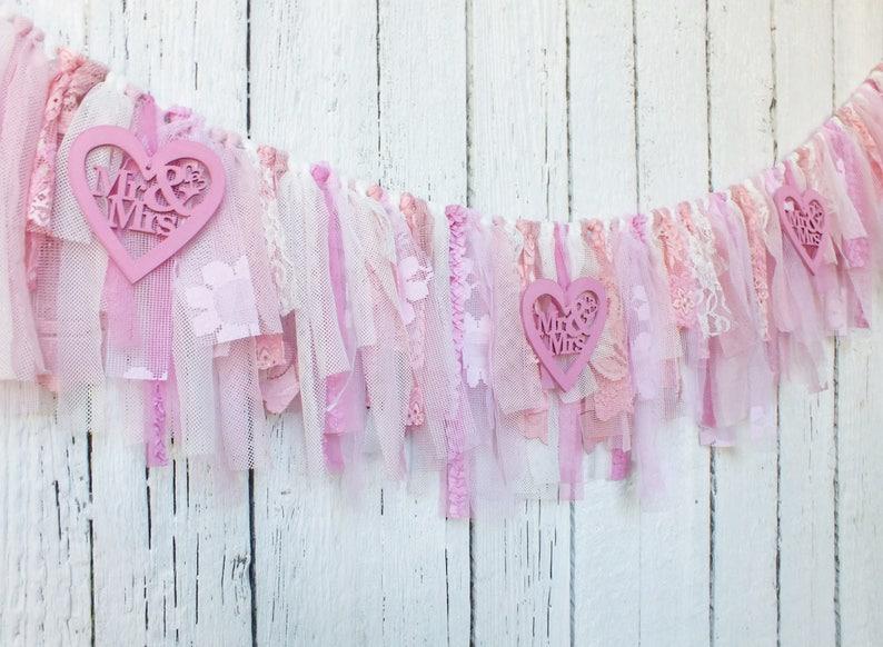 New Fashion Sweets Heart Linen Burlap Rustic Banner Wedding Garland Decor