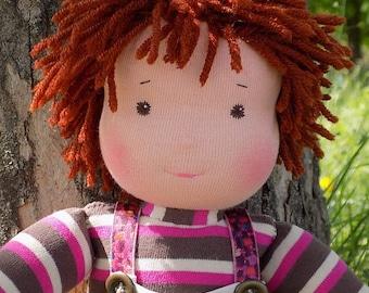 15 inch natural soft waldorf doll boy, natural fabric doll boy, rag doll boy, textile doll, fabric doll boy, cloth doll, personalized doll
