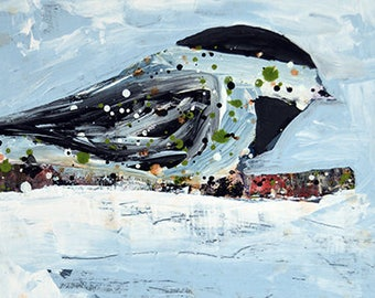 Chickadee Painting Original. Mixed Media Collage Art. Acrylic Painting. Blue Snowy Bird Portrait Painting. No 68