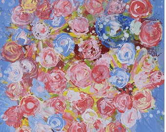 Pink & Blue Roses Flower Painting Print. Cottage Chic Decor. Floral Art Digital Print. Flower Wall Prints. 224