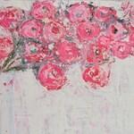 Pink & Blue Cottage Chic Floral Art Painting. Bouquet Flowers Painting. Pink Roses Painting. Home Wall Decor. 108