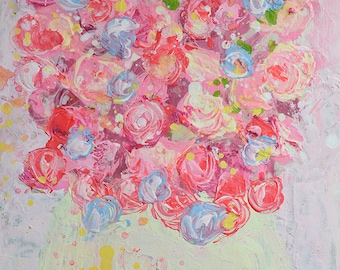 Unique Gift For Wife. Pink Rose Flowers Print. Still life Floral Painting Print. Impressionist Painting. Gift her. Fine Art Love Print 194
