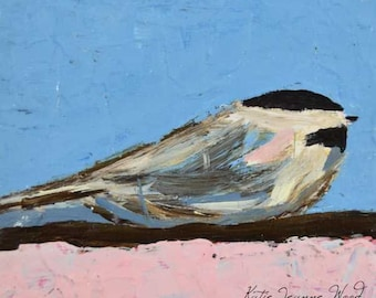 Chickadee Bird Painting Print. Pink & Blue Bird Art Print. Cottage Chic Shabby Bird Decor. Apartment Wall Decor. No 143