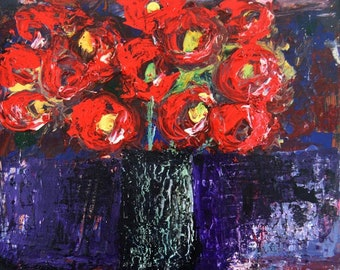 Acrylic Still Life Flower Painting. Red Flowers Floral Painting. Dining Room Wall Decor. No 36