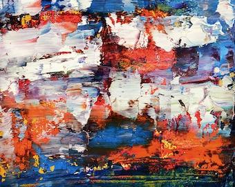 Colorful Oil Landscape Painting. Fine Art. Impasto Palette Knife Art. Kitchen Wall Decor. 59