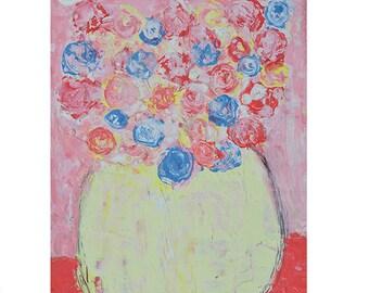 Pink Roses Flower Painting Print. Still Life Cottage Chic Digital Prints. Shabby Floral Art Print. 137