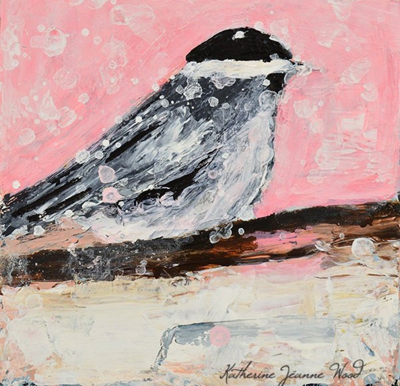 Pink Snowy Chickadee Painting Print. Cottage Chic Decor. image 0