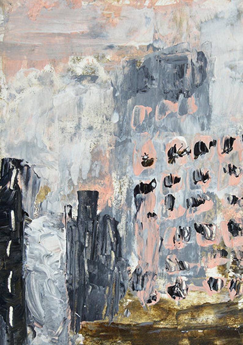 Pink & Gray Abstract Cityscape Painting image 0