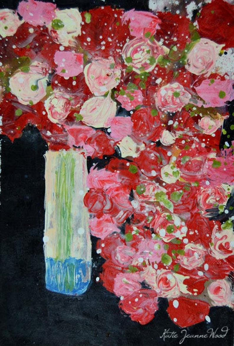 Gift for Baby's Mama Roses Flower Painting. Palette Knife image 0
