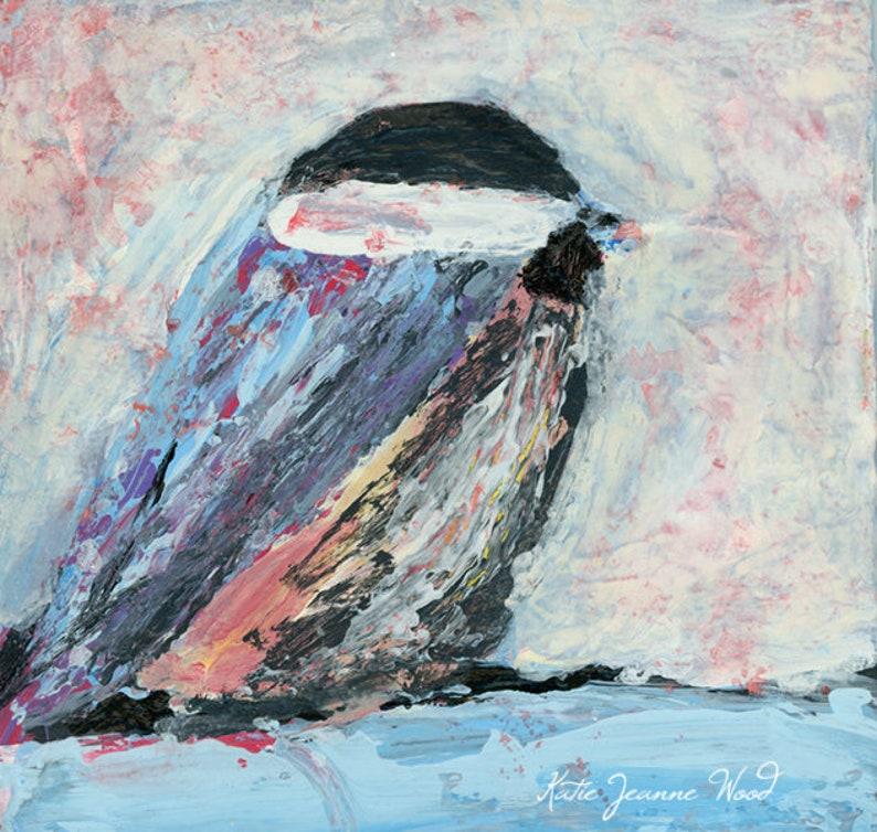 Shabby Cottage Chic Chickadee Bird Painting Print No 44 image 0