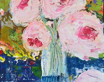 Cottage Chic Shabby Still Life Floral Art. White & Pink Flowers Painting. Wall Decor. 52