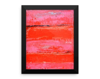 Pink framed abstract painting poster. Black framed abstract photo on paper