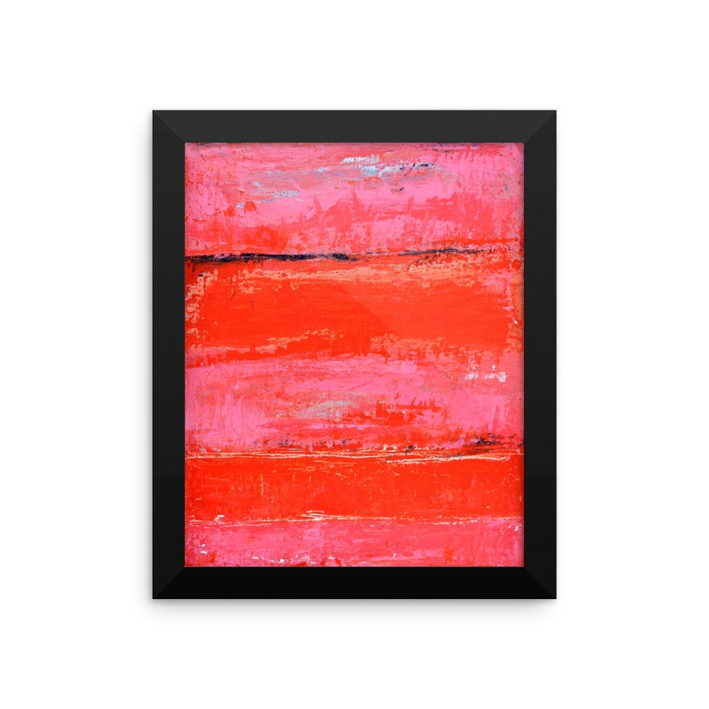 Pink framed abstract painting poster image 0