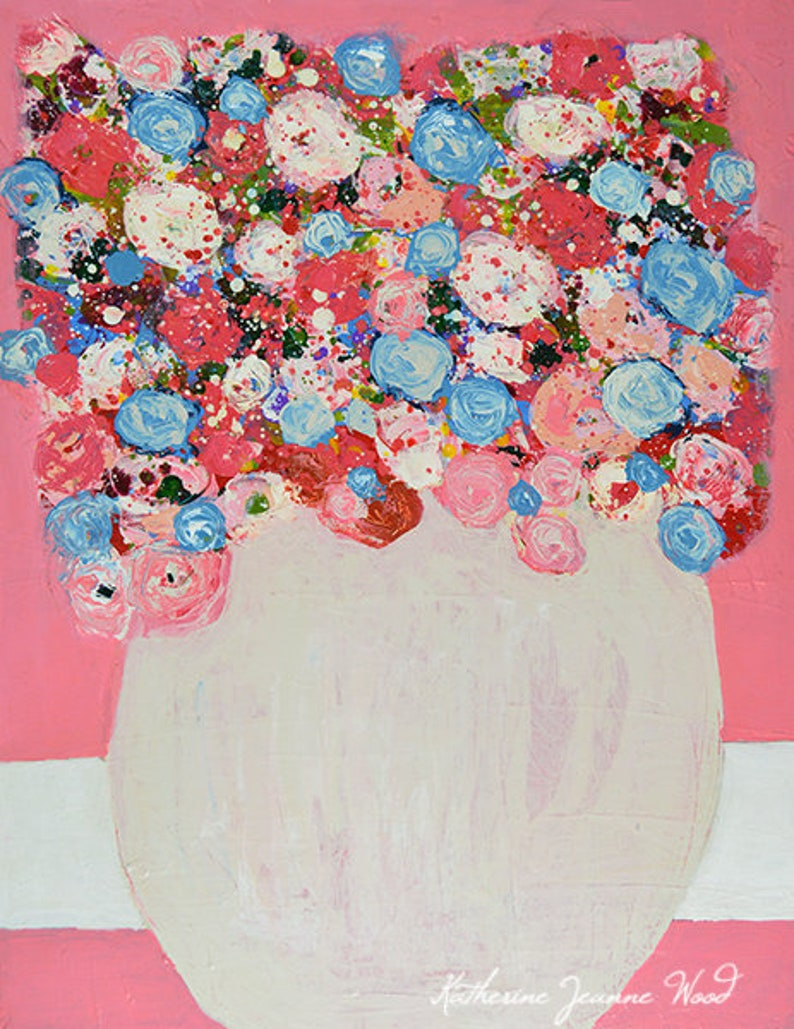 Pink & Blue Roses Floral. Shabby Flower Painting No 124 image 0
