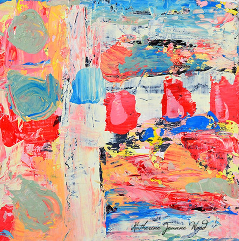 Red & Blue Affordable Abstract Palette Knife Painting image 0