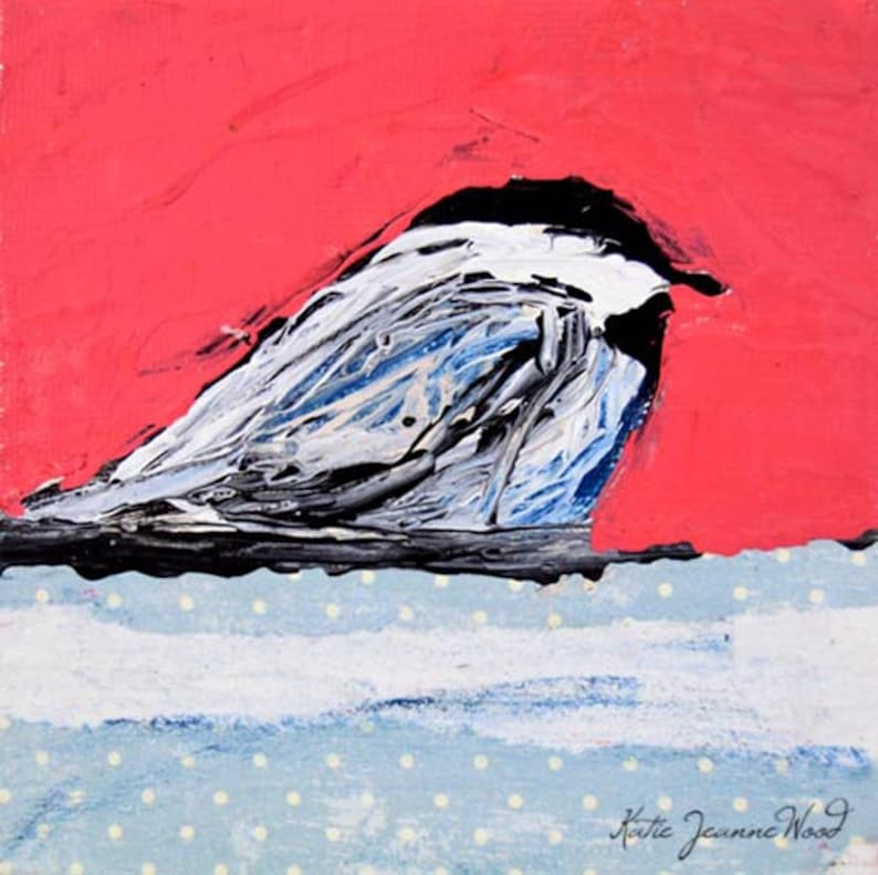 Pink Chickadee Bird Cottage Painting No 13 image 0