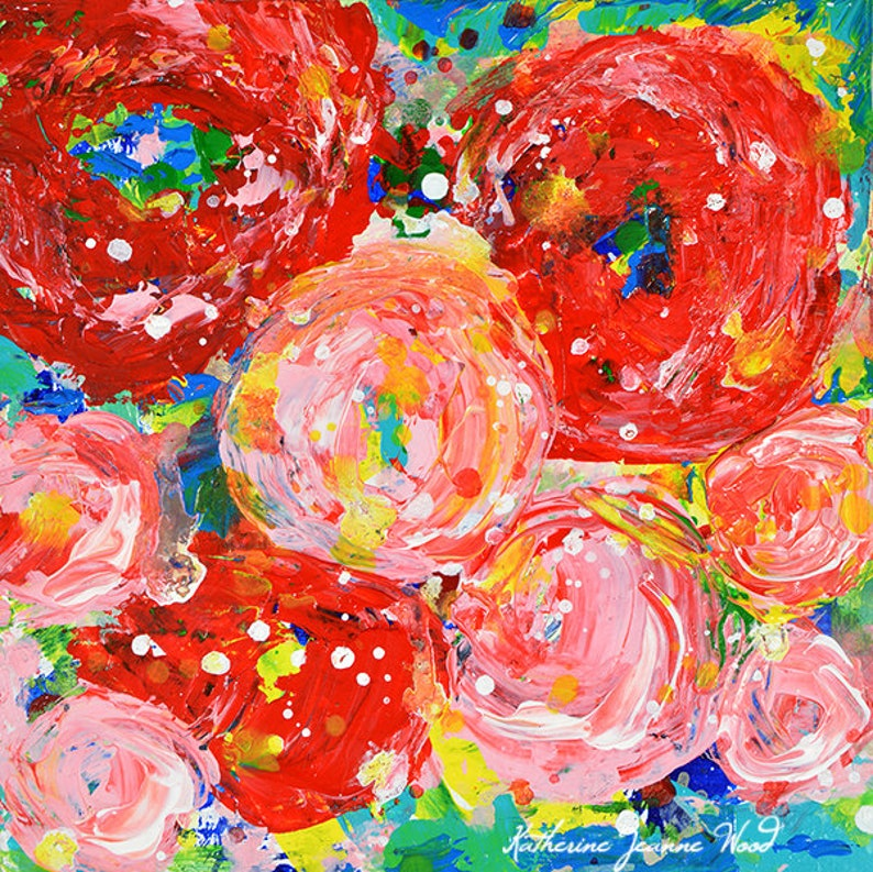 Red Modern Flower Painting Print For Home No 321 image 0