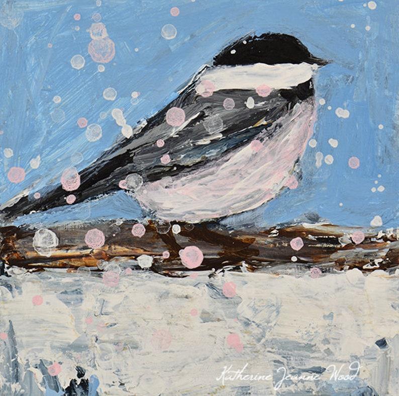 Snowy Blue Chickadee Bird Painting Print No 3 image 0