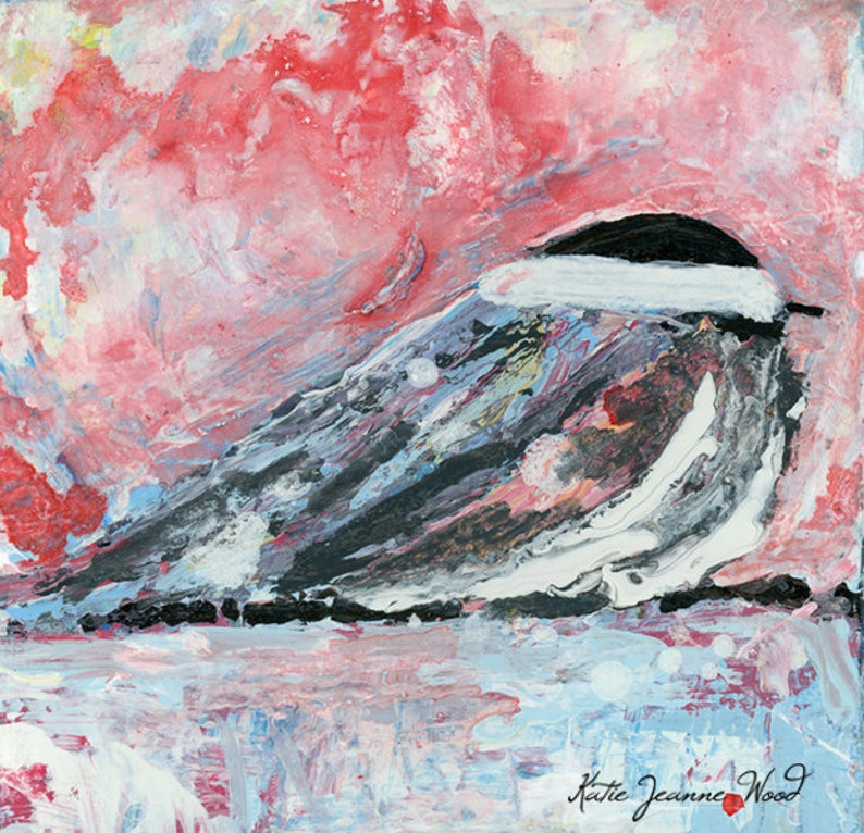 Miniature Chickadee Bird Painting Cottage Chic Decor No 12 image 0
