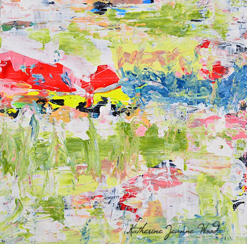 Green & Red Abstract Painting Acrylic Abstract Palette Knife image 0